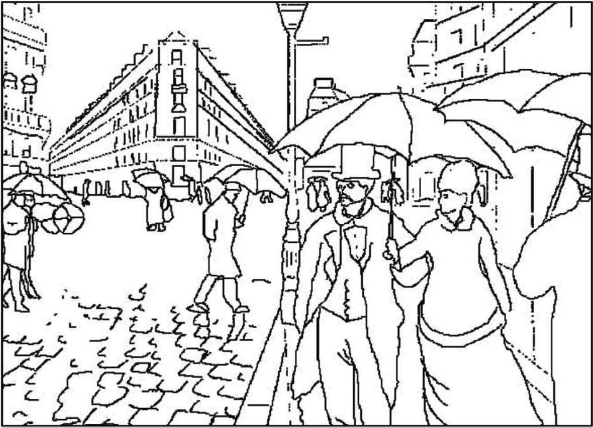 Planche à colorier Rue de Paris de Caillebotte